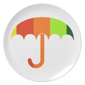 Rainbow Umbrella on White Background Dinner Plate