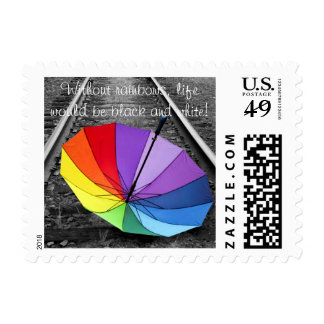 Rainbow Umbrella Postage Stamp