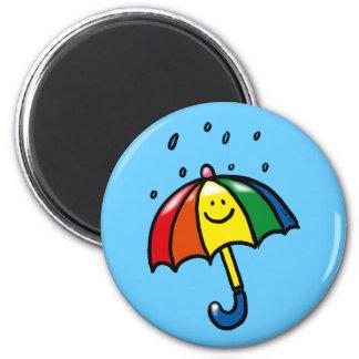 Rainbow umbrella & rain drops 2 inch round magnet