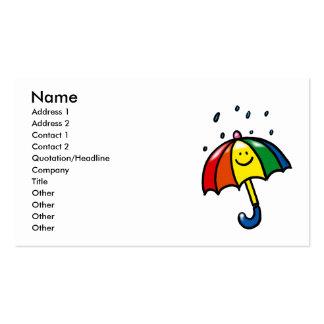 Rainbow umbrella & rain drops business card template