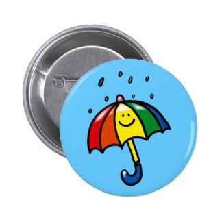 Rainbow umbrella & rain drops pin