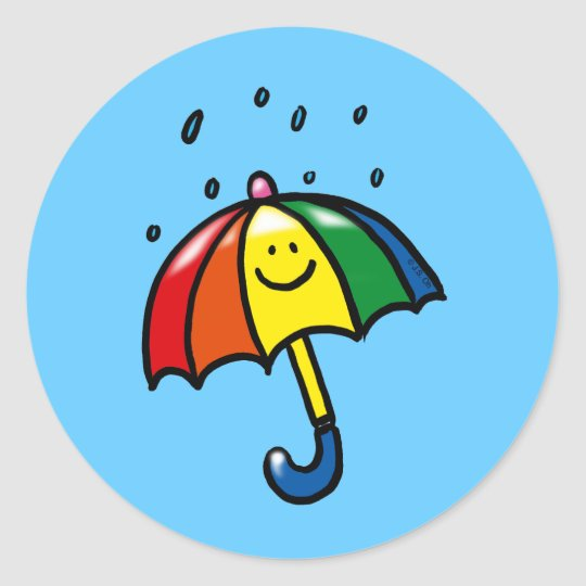 Rainbow umbrella & rain drops classic round sticker