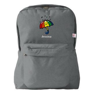 Rainbow umbrella & rain drops backpack