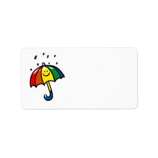 Rainbow umbrella & rain drops personalized address label