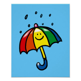 Rainbow umbrella & rain drops print
