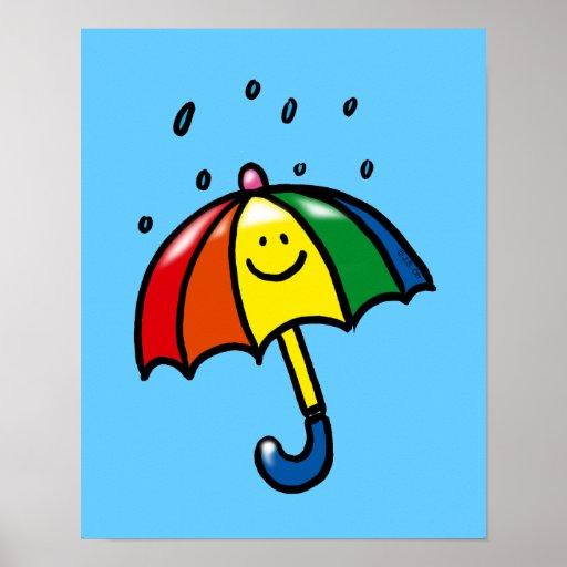 Rainbow umbrella & rain drops poster