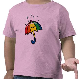 Rainbow umbrella & rain drops t-shirts