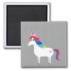 Rainbow Unicorn 2 Inch Square Magnet