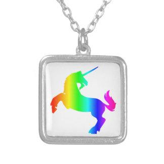 Rainbow Unicorn #2 Square Pendant Necklace