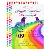 Rainbow Unicorn - 3x5 Birthday Invitation