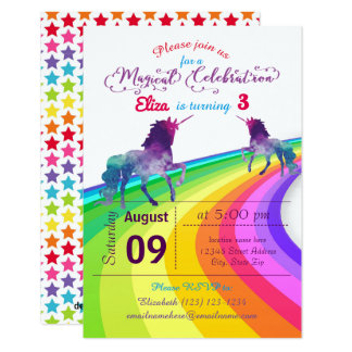Rainbow Unicorn - 3x5 Birthday Invitation
