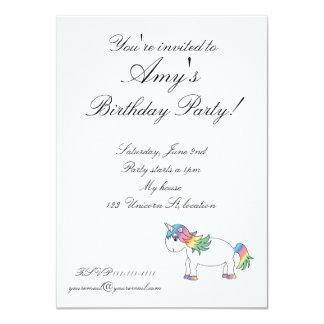 Rainbow unicorn 4.5x6.25 paper invitation card