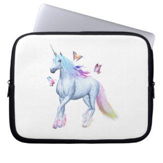 Rainbow unicorn and butterflies computer sleeve