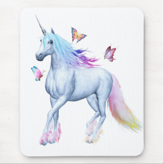 Rainbow unicorn and butterflies mouse pad