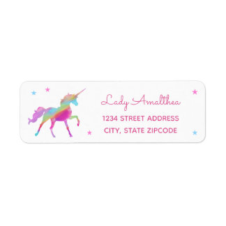 Rainbow Unicorn And Stars Address Label