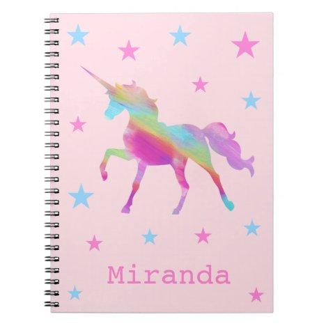 Rainbow Unicorn And Stars Notebook