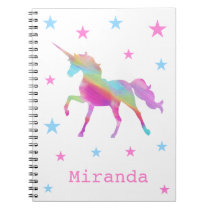 Rainbow Unicorn And Stars Notebook