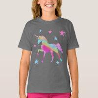 Rainbow Unicorn And Stars T-Shirt