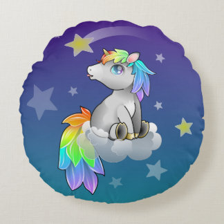 Rainbow Unicorn Baby Kid's Cute Room Decor Round Pillow