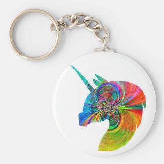 Rainbow Unicorn Basic Round Button Keychain