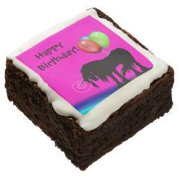 Rainbow Unicorn Birthday Chocolate Brownie