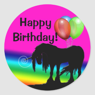 Rainbow Unicorn Birthday Classic Round Sticker