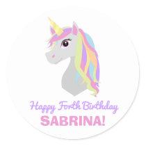 Rainbow Unicorn Birthday Custom Name Age Sticker