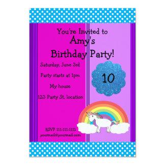 "Rainbow unicorn birthday invitation 5"" x 7"" invitation card"