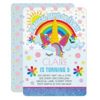 Rainbow Unicorn Birthday invitation