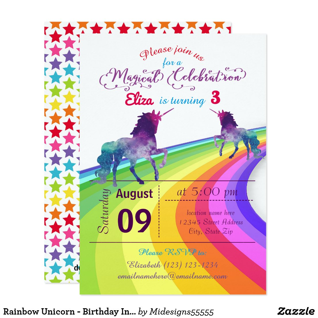 Rainbow Unicorn - Birthday Invitation