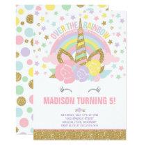 Rainbow Unicorn Birthday Invitation Pink Gold
