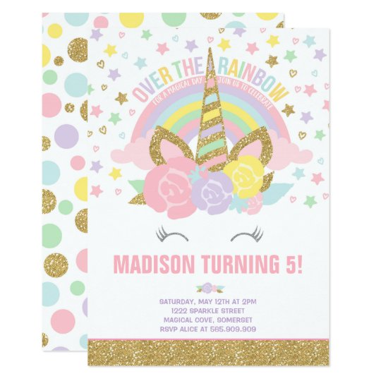 Rainbow Unicorn Birthday Invitation Pink Gold – Unicorn Birthday Party Invitations