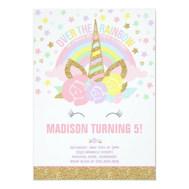 rainbow unicorn birthday invitation pink gold   zazzle,