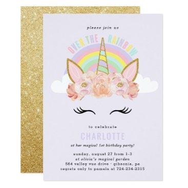 birthday Rainbow Unicorn Birthday Invitation Pink Gold