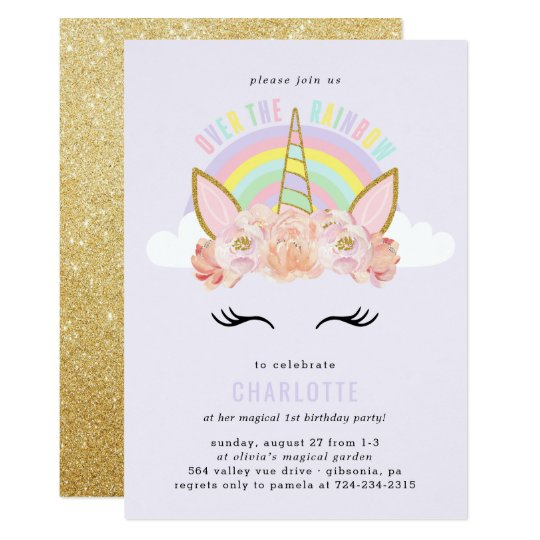 Rainbow Unicorn Birthday Invitation Pink Gold Zazzlecom