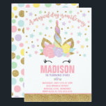 "Rainbow Unicorn Birthday Invitation Pink Gold<br><div class=""desc"">Unicorn birthday Invitation. A perfect Way to announce your Magical Unicorn party!</div>"