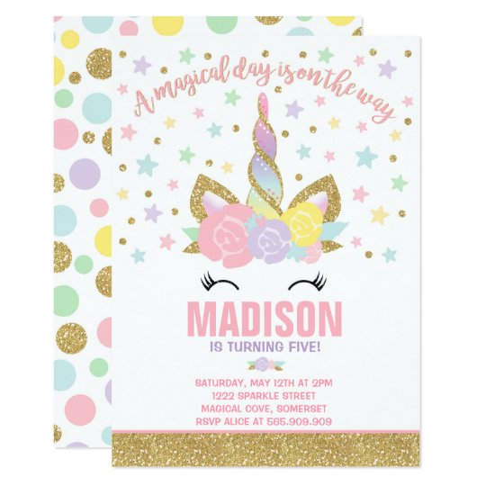 Rainbow Unicorn Birthday Invitation Pink Gold Zazzle Com