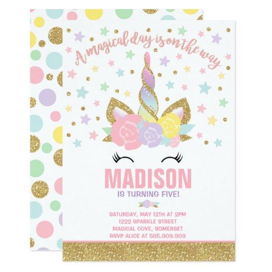 Delightful Rainbow Unicorn Birthday Invitation Pink Gold  Birthday Invitation Pictures