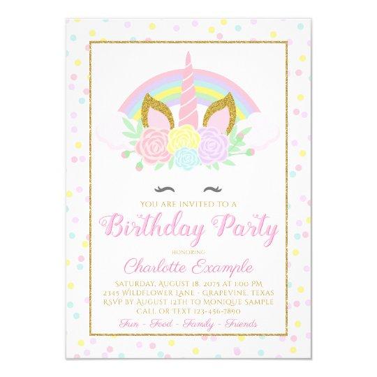 Rainbow Unicorn Birthday Party Invitations Zazzle Com