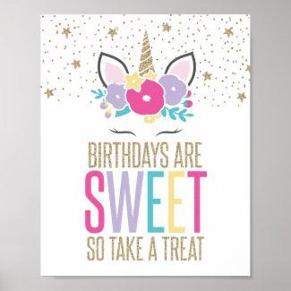 Rainbow Unicorn Birthday Party Treat Sign