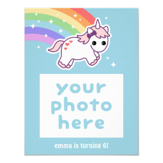 Rainbow Unicorn Birthday Photo Card