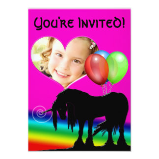 Rainbow Unicorn Birthday (photo card) Card