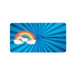 Rainbow unicorn blue sunburst custom address labels