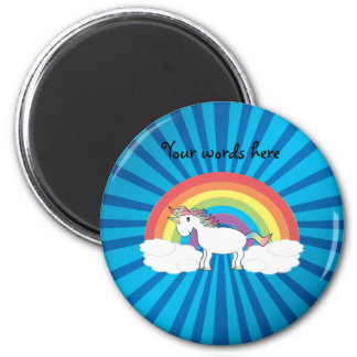 Rainbow unicorn blue sunburst magnet