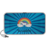 Rainbow unicorn blue sunburst notebook speakers