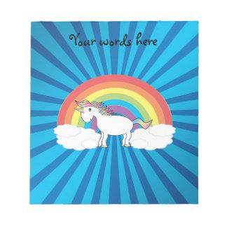 Rainbow unicorn blue sunburst note pad