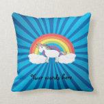Rainbow unicorn blue sunburst pillow