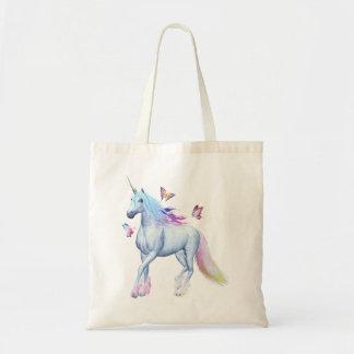 Rainbow unicorn budget tote bag