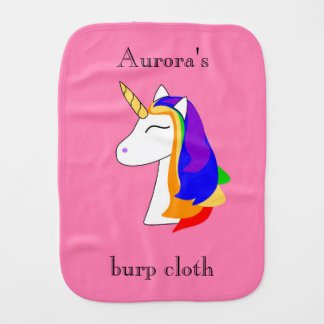 Rainbow unicorn burp cloth