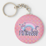 Rainbow Unicorn Butterfly Princess Design Basic Round Button Keychain